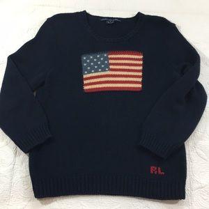 VTG Ralph Lauren Flag Sweater, Large